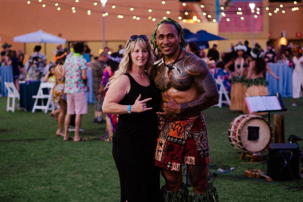 hawaiian warrior with guest